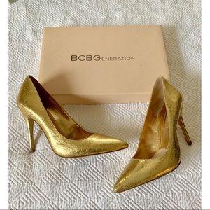 BCBG Gold Pumps